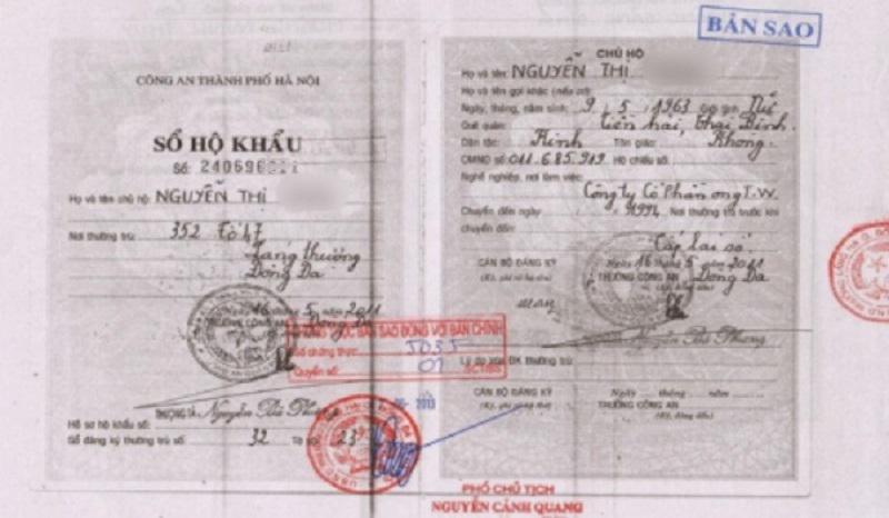 Sao Y Công Chứng: Chứng thực bản sao hộ khẩu