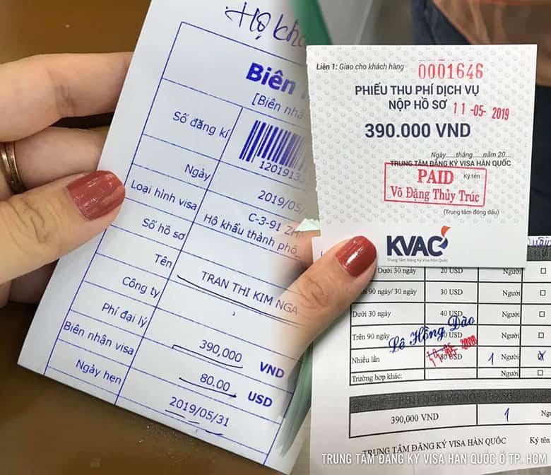 Hoá đơn lệ phí tại Trung Tâm Đăng Ký Visa Hàn Quốc