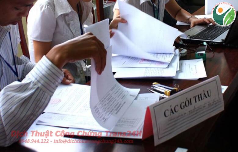 Dịch thuật công chứng hồ sơ thầu các gói