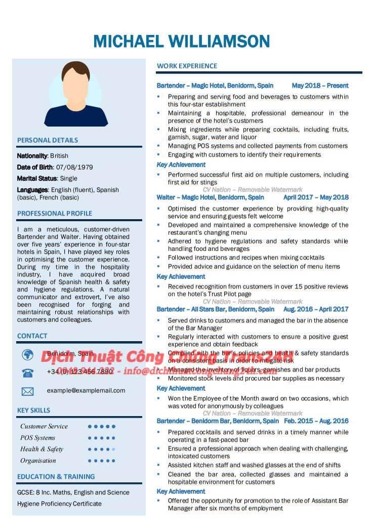 Dịch Thuật & Công Chứng CV
