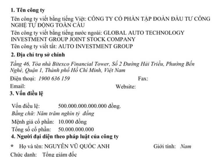 Đăng ký thành lập công ty vốn điều lệ 500.000 tỷ đồng